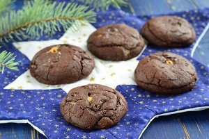 Chocolate cookies with peanut butter