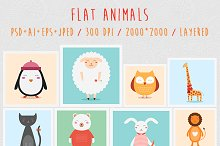 Flat Animals Set