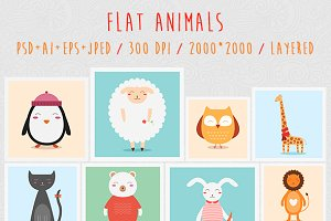 Flat Animals Set