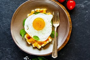 Waffles with fried egg