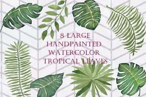 8 Large Watercolor Tropical Leaves