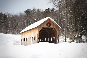 Covered Bridge with Snow