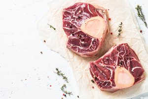 Raw beef steak osso bucco. Marble meat.