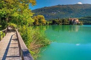 Toblino lake and medieval castle