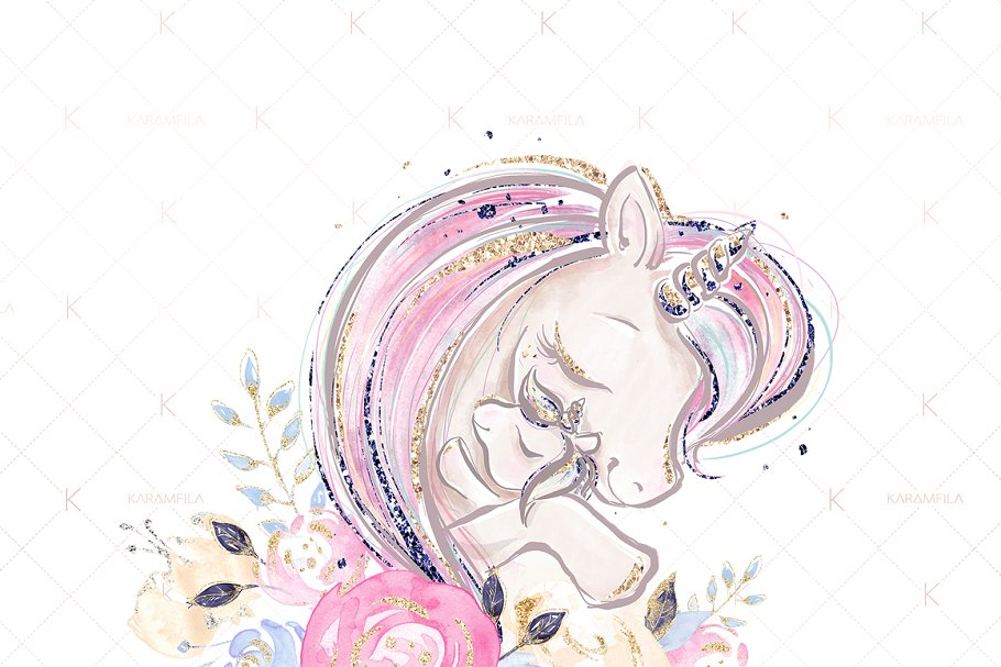 336cd2b0 Mother and Baby Unicorns Clipart ~ Illustrations ~ Creative Market