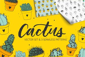Handdrawn cactus vector set