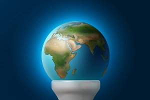 Planet Earth inside lamp