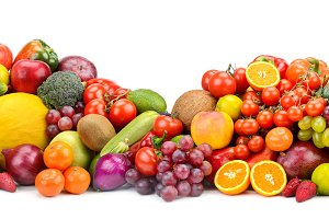 Healthy fruits, vegetables, berries