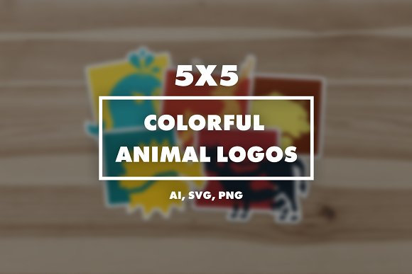 5x5 COLORFUL Animal Logos