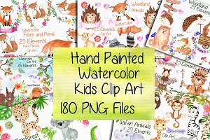 Watercolor Bundle-kids clipart