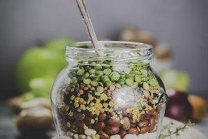Legumes - lentils chickpeas beans gr