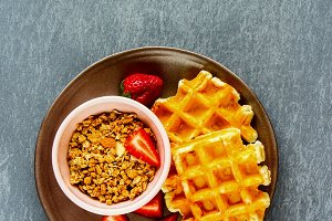Waffles and granola