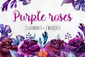 Purple roses clip art. Violet flower