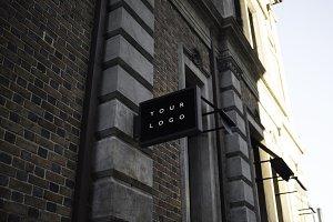 Black Rectangle Shop Sign Mockup #2