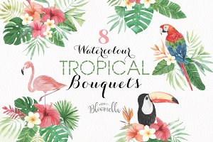 Tropical Watercolor Flamingo Clipart