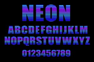 Neon vector alphabet