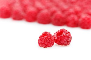 raspberry berries isolated on white