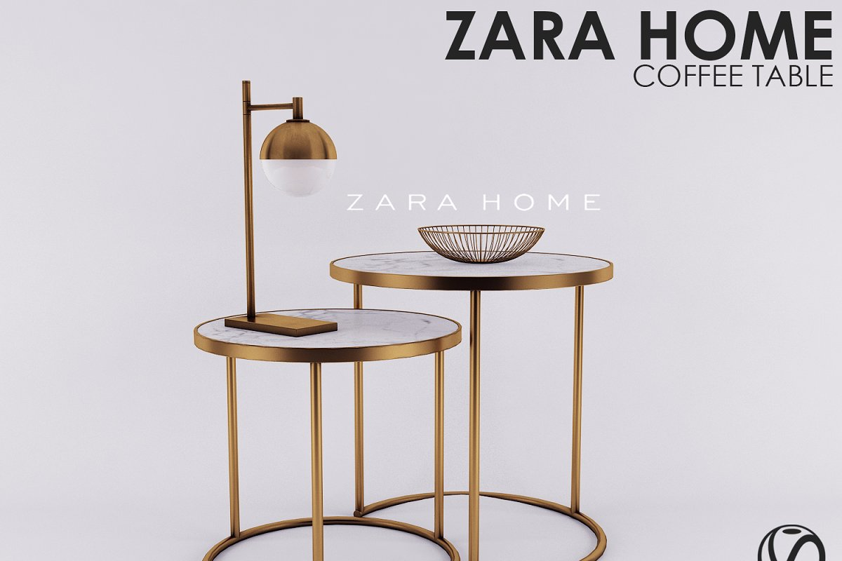 Zara Home Able Marble Gold Nest 3d High Quality 3d Furniture