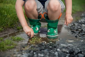 Boy in Rain Boots in Puddle