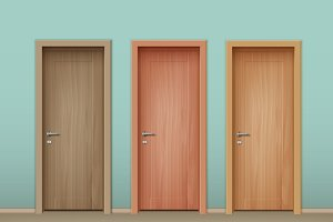 Vector colored wooden doors
