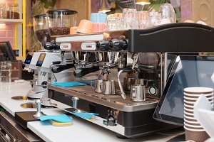 Espresso machine in a restaurant