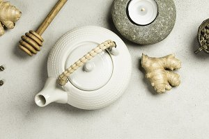 Asian tea set and spa stones