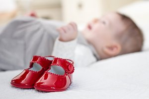 Baby red patent leather shoes
