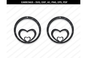 Heart earrings,svg,dxf,ai,eps,png
