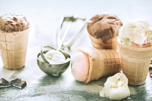 different ice cream in a cone