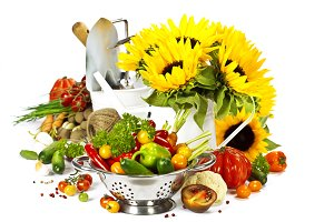 Fresh vegetables, flowers and garden