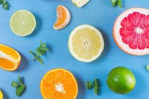citrus pattern on blue