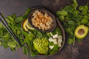 Brown rice, avocado and tofu salad