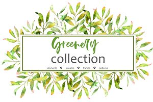 Greenery Collection. Watercolor set