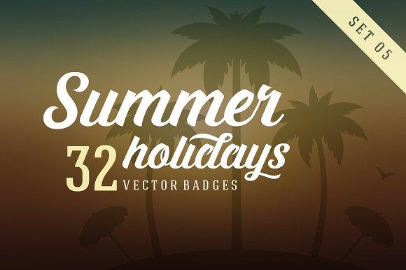32 Summer holidays badges & labels