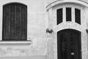 Rustic Door Window Black White