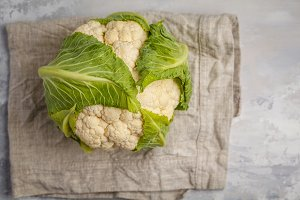 Ripe whole raw cauliflower