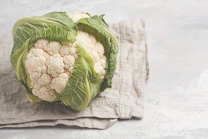 Ripe whole raw cauliflower
