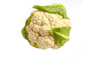 Raw cauliflower isolated on white