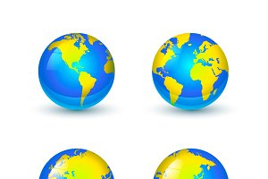 Bright glossy Earth globes icons
