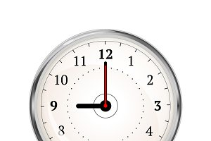 Realistic clock face showing 09-00