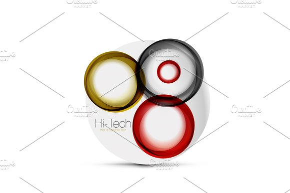 Circle Web Layout Digital Techno Spheres Web Banner Button Or Icon With Text Glossy Swirl Color Abstract Circle Design Hi-tech Futuristic Symbol With Color Rings And Grey Metallic Element