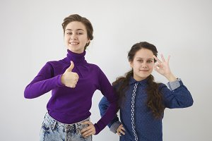 Positive emotions, signs and gestures concept. Two beautiful cheerful Caucasian sisters recommending you something, expressing approval, agreement, showing thumbs up and ok gesture at camera