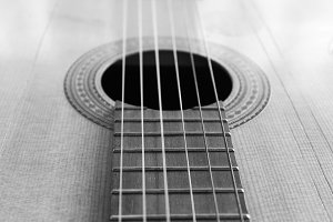 Guitar Detail in Black and White