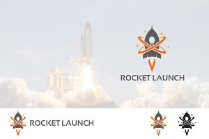 Rocket Launch to Space Logo