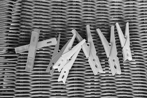 Clothespin Detail in Black and White