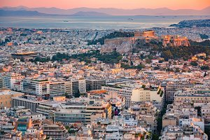 Aerial view on Athens, Greece at sunset