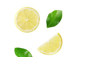 Falling lemon isolated on white