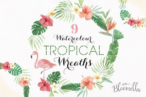 Tropical Watercolor Flamingo Wreaths