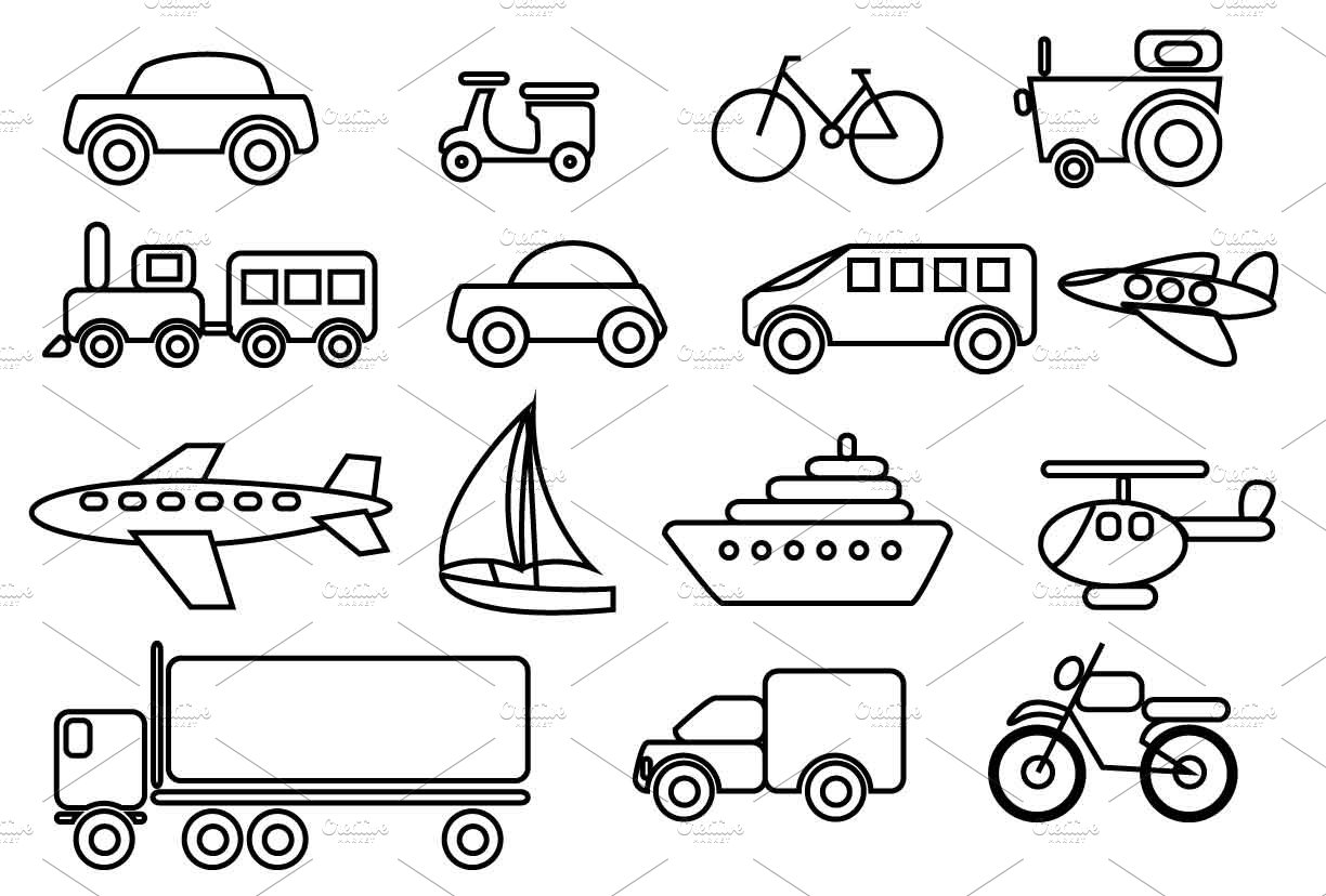 Fresh Transportation Vector Clip art set ~ Illustrations ~ Creative Market QE08