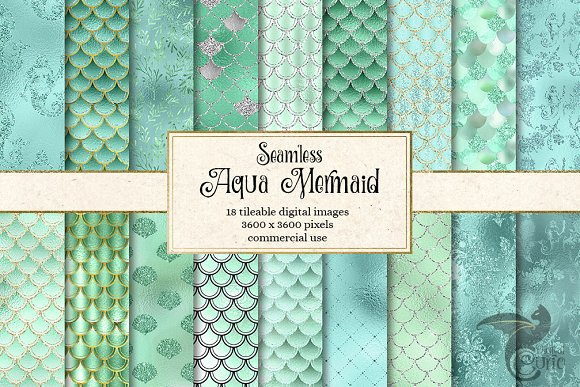 Aqua Mermaid Scales Digital Paper